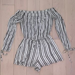 Kendall & Kylie black and white striped romper